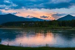 Sunset on the river Katun. Trekking in the Altai Mountains Royalty Free Stock Photos