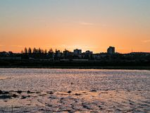 Sunset on the river. With low tide Stock Photography
