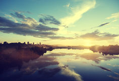 Sunset on the river Royalty Free Stock Photography