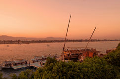 Sunset on the river Nile in Egypt Royalty Free Stock Image