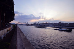 Sunset river in Osaka Royalty Free Stock Photos