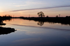 Sunset at river Oude IJssel Royalty Free Stock Image