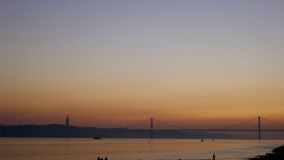 Sunset River Lisbon. Sunset over the Tagus River in Lisbon royalty free stock photography