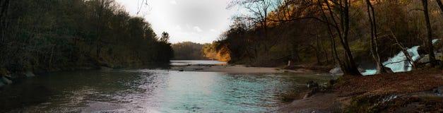 Sunset river panorama Stock Photos