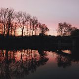 Sunset at the river royalty free stock photography