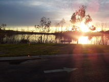 Sunset. River side country sunset australia, peacefull clear sky,holdays quiet times Royalty Free Stock Images