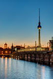 Sunset at the river Spree in Berlin Royalty Free Stock Image