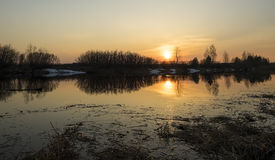 Sunset on the river in spring Royalty Free Stock Images