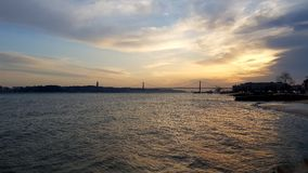 Sunset on river Tejo Stock Image