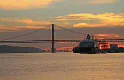 Sunset on river Tejo (Lisbon) Stock Images