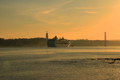 Sunset on river Tejo (Lisbon) Stock Photography