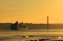 Sunset on river Tejo (Lisbon) Royalty Free Stock Image