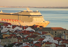 Sunset on river Tejo (Lisbon) Stock Image