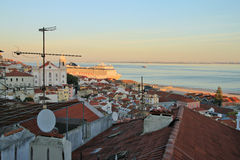 Sunset on river Tejo (Lisbon) Stock Photo