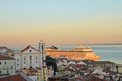 Sunset on river Tejo (Lisbon) Royalty Free Stock Images