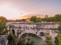 Sunset on the river Tiber in Rome Royalty Free Stock Photography