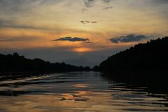 Sunset on the river Tisa stock photography
