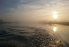 Sunset on the River Trent Nottingham stock images