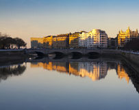 Sunset on the river Urumea passing through Donostia. Stock Image