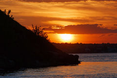 Sunset at river Royalty Free Stock Photo