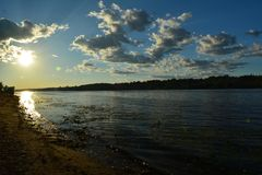Sunset river Volga Stock Image
