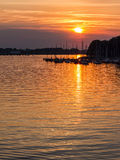 Sunset on a river Royalty Free Stock Photos