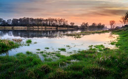 Sunset at the river. Warta in Santok, Poland. Landscape photography Stock Photo