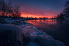 Sunset on the river royalty free stock images