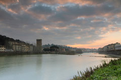 Sunset at riverbank in  Florence Stock Image