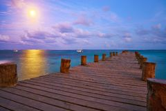 Sunset at Riviera Maya pier in Mexico. Sunset at Riviera Maya pier in Mayan Mexico Stock Image