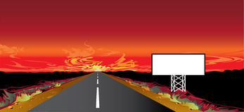 Sunset on the road. And billboard Royalty Free Stock Images