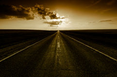 Sunset on road Royalty Free Stock Photo