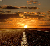 Sunset and The Road Royalty Free Stock Photography