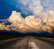 Sunset on road Royalty Free Stock Images