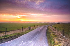 Sunset road. A road in an agricultural environmentn near Schoterzijl, Friesland, Netherlands royalty free stock photos