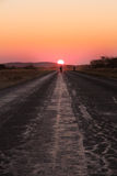 Sunset Road with Man Stock Image