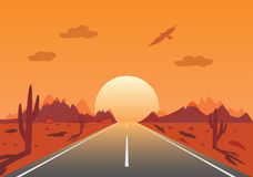 Sunset Road in mexican desert Royalty Free Stock Images