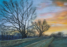 Sunset on the Road Pastel Drawing. This is a photograph of my original pastel drawing of an evening in November, on the road in the Cotswold, England vector illustration