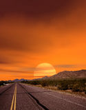 Sunset Road. Sonora desert and mountains Arizona Stock Photos