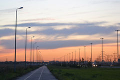 Sunset on the road. Stock Photo
