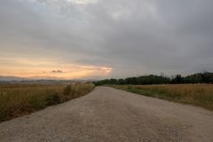 Sunset on the road to Santiago for the height of forgiveness. SPAIN royalty free stock photo
