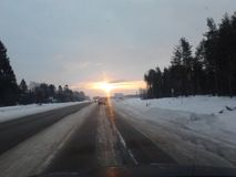 Sunset on the road. World as it is close to you Stock Photography