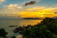 Sunset Rock Hin Ta and Hin Yai from Thailand Island of Koh Samui. The Rock Hin Ta and Hin Yai from Thailand Island of Koh Samui. The picturesque pile of rocks on royalty free stock photo