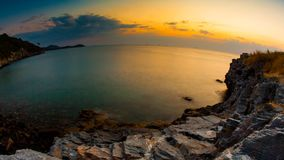 Rock in the sea. Sunset with rock in the sea ,Thailand stock footage