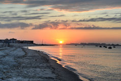 Sunset from the Rockaways, Queens, NY Royalty Free Stock Images
