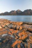 Sunset Rocks. The Hazards, on Tasmania's Freycinet Peninsula at sunset stock photography