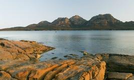 Sunset Rocks. The Hazards, on Tasmania's Freycinet Peninsula at sunset royalty free stock photography