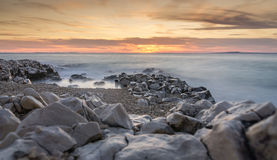 Sunset and Rocks in Petrčane Royalty Free Stock Images