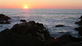 Sunset on the rocky Atlantic coast. Nature. stock footage