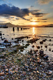 Sunset Rocky Beach. Sunset on a rocky beach in Hong Kong royalty free stock photo